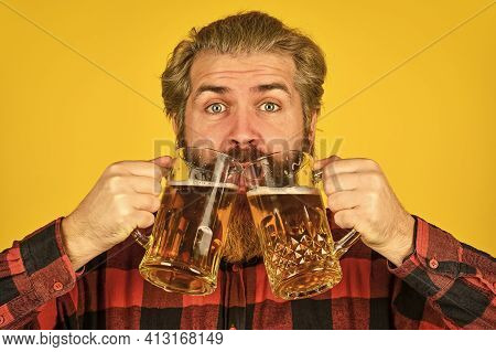 Holiday Celebration. Fathers Day. Birthday Party Concept. Alcoholic. Thirsty Man Drinking Beer In Pu