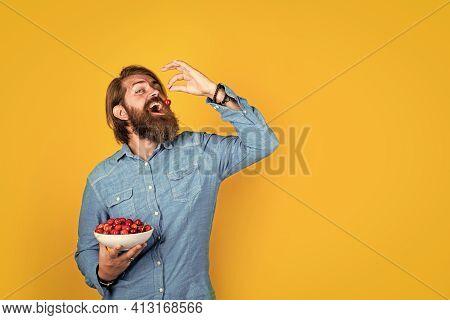 Diet. Man Eat Organic Berries. Harvesting Cherries In Summer. Ripe Cherries In Pot. Delicious Desser