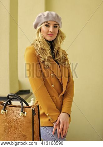Lookbook. Sexy Carefree Woman With Blond Hair. Fashion Autumn Portrait Of Stylish Woman. Posing On T