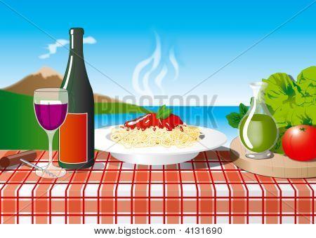 Spaghetti At Naples With Vesuvio