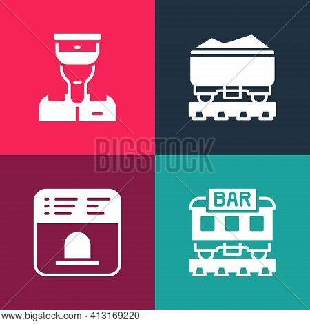 Set Pop Art Restaurant Train, Ticket Office To Buy Tickets, Coal Wagon And Train Conductor Icon. Vec