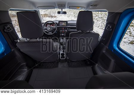 Moscow, Russia - January 24, 2020: Interior Of Suzuki Jimny Mini Suv. A Close-up View From Rear Seat