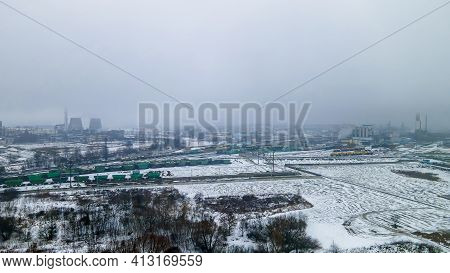Panorama Of The Chemical Plant From Above. Environmental Pollution. Unloading And Loading Rail Cars