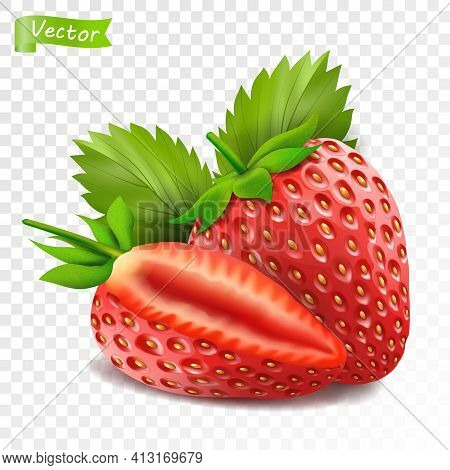 Whole Strawberry And Sliced Half Strawberry. Fresh Red Ripe Mellow Berry On White Background. Realis