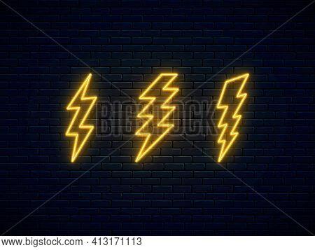 Neon Lightning Bolt Set. Banner Design, Bright Advertising Signboard Elements. High-voltage Thunderb