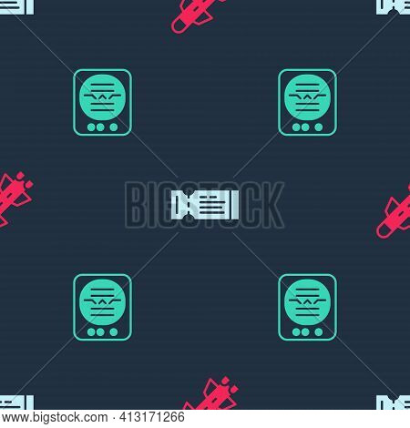 Set Rocket, Airline Ticket And Attitude Indicator On Seamless Pattern. Vector