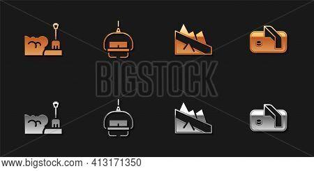 Set Shovel In Snowdrift, Ski Lift, Mountain Descent And Ice Hockey Goal Icon. Vector