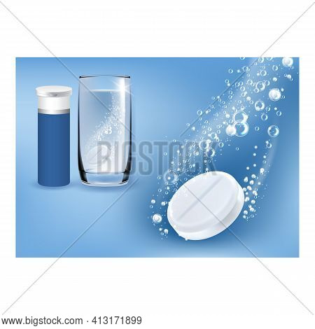 Painkiller Tablets Creative Promo Banner Vector Illustration