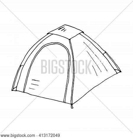 Tent. Camping Tent Vector. Tourist Tent For Travel And Camping. Illustration Of An Isolated Tent