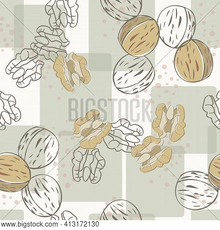 Vector Nuts Walnuts In Brown Tan On Green Squares Background Seamless Repeat Pattern. Background For