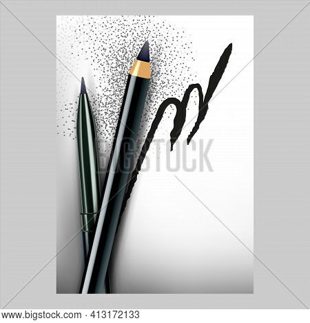 Eyeliner Pencils Creative Promo Banner Vector Illustration