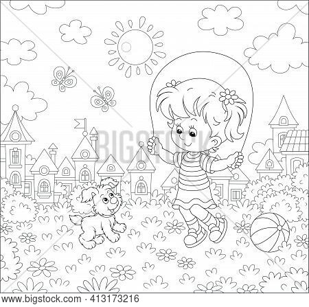 Happy Little Girl Jumping Rope With Her Cute And Merry Pup In A Summer Park Of A Small Town, Black A