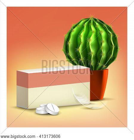 Hemorrhoids Oral Treatment Advertising Banner Vector Illustration