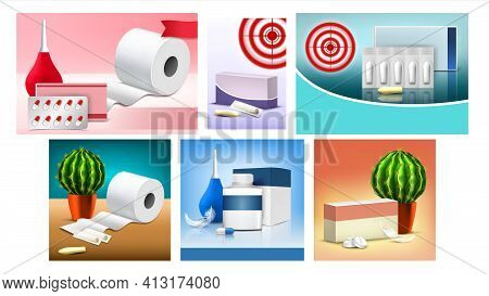 Hemorrhoids Suppositories Promo Banners Set Vector Illustration