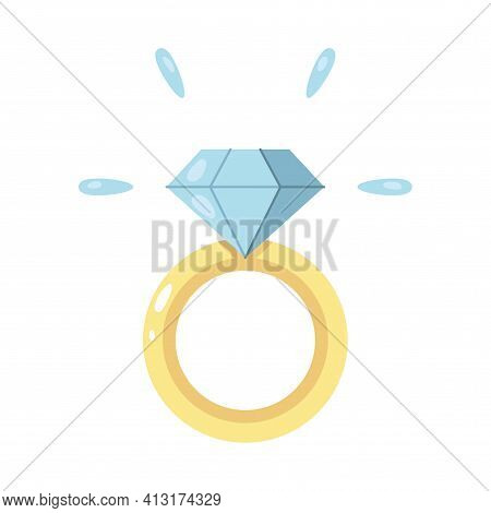 Isolated Engagement Ring. Valentines Day - Vector Illustration