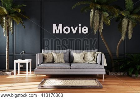 Elegant Living Room Interior With Vintage Sofa Between Large Palm Trees; Movie Lettering; Travel Con