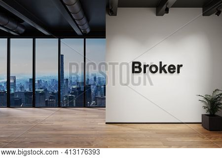 Luxury Loft With Skyline View, Wall With Broker Lettering, 3d Illustration