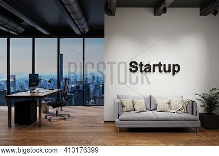 Modern Luxury Loft With Skyline View And Vintage Couch, Wall With Startup Lettering, 3d Illustration