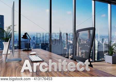 Architect; Office Chair In Front Of Workspace With Computer And Skyline View; Architect Business Con