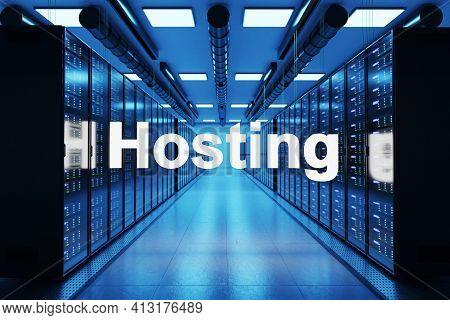 Hosting Logo In Large Data Center With Multiple Rows Of Network Internet Server Racks, 3d Illustrati
