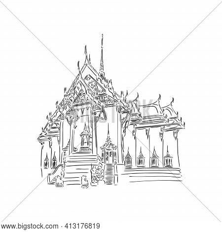 Wat Phra Kaew, Holy Place And Grand Palace, Bangkok, Thailand. Hand Drawn Sketch In Vector Illustrat