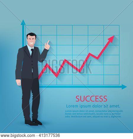 Successful Businessman In Front Of Upward Development Chart Poster Vector Illustration