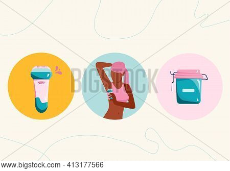 Hair Removal Concept.choice Between Depilation And Waxing.young Woman Shaves Her Armpit With Razor.h