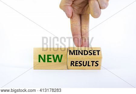 New Mindset And Results Symbol. Businessman Turns The Wooden Block And Changes Words 'new Mindset' T