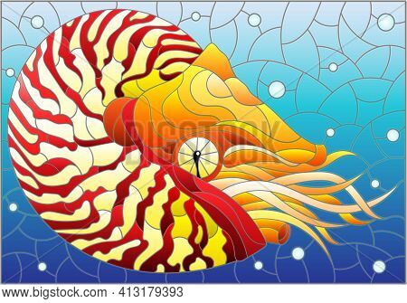 Stained Glass Illustration With A Bright Abstract Nautilus On A Background Of Water And Air Bubbles