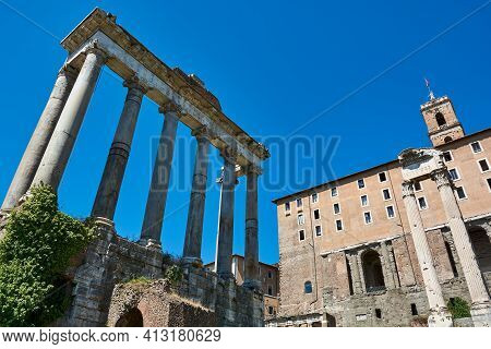 Roman Forum, Rome, Italy - May 17, 2017: View Of The Temple Of Saturn And Part Of The Tabularium At