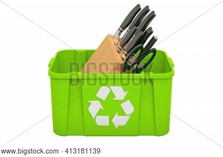 Recycling Trashcan With Kitchen Knives, 3d Rendering Isolated On White Background