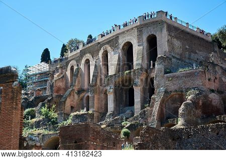 May 17, 2017 - Rome, Italy: Ruins At The Roman Forum, A Rectangular Forum Surrounded By The Ruins Of