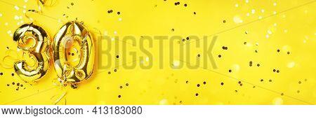 Gold Foil Balloon Number, Digit Thirty. Birthday Greeting Card, Inscription 30. Anniversary Celebrat