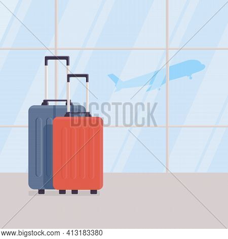 Two Travel Suitcases Against Background Of Large Windows In Waiting Area Of Airport Terminal, View O