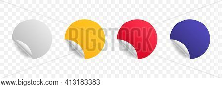 Set Of Color Paper Round Stickers With Curved Corner And Shadow. Collection Of Mockup Realistic Roun
