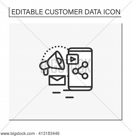 Content Marketing Line Icon. Strategic Marketing Focused On Creating And Distributing Valuable, Rele