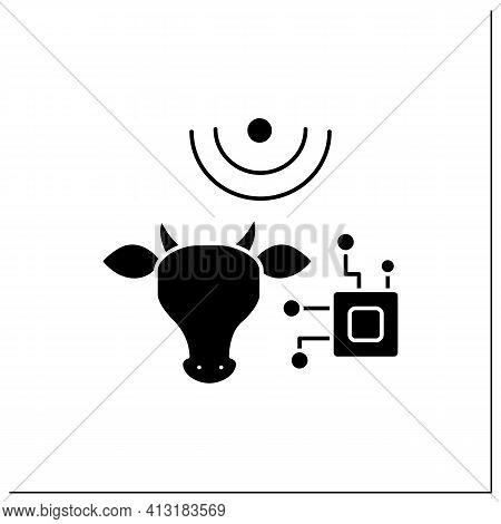 Rfid Animal Identification Glyph Icon. Digitalization In Agriculture. Device For Monitoring Animal H