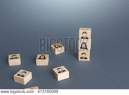 Figurine Blocks With Employees. Personnel Recruitment Concept. Team Building. Company Organization.