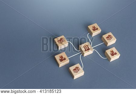Bank Blocks Are Linked To Money By Lines. Operation Of Money Funds, Transactions. Lending, Deposits.