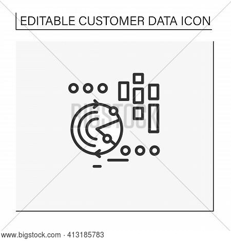 Continuously Data Update Line Icon. Continuous Process Of Updating Users Data, Personal Information.