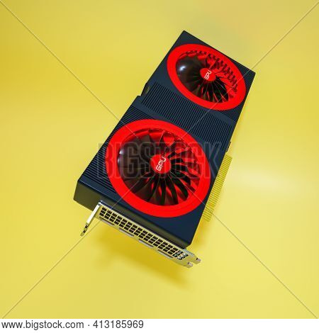 Modern Video Card On A Yellow Background. Three-dimensional Computer Background Of The Gpu. 3D Rende
