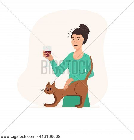 Womens Concept Flyers. Happy Cute Girl Is Resting With A Cat. Female Daily Life By Young Woman Conce