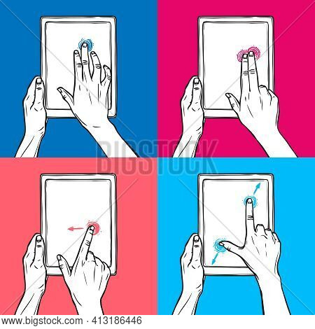 Hands Holding Tablet Gadget And Swipe Pinch Tap Gesture Sketch On Colored Background Decorative Icon