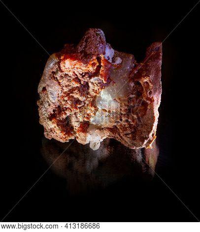 Shiny Transparent White Halite Rock Salt Crystal Inside Red Sylvinite Mineral From Soligorsk, Belaru