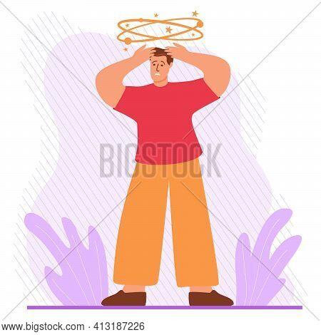 Man Character Dizziness.man Feeling Vertigo. Health Problems.