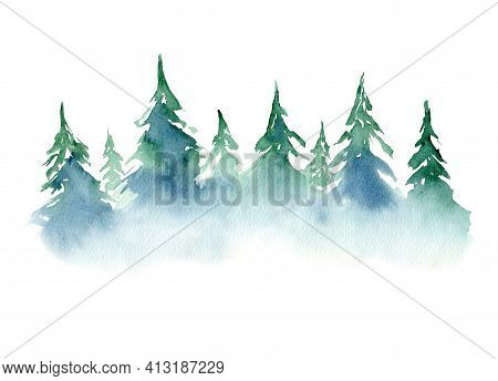 Beautiful Watercolor Background With Mist Blue And Green Coniferous Trees Forest. Foggy Fir Or Pine
