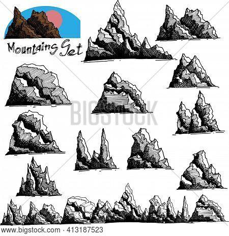 Mountains Set. Hand Drawn Rocky Peaks. Black Drawn Mountains On A White Background. Mountain Shapes