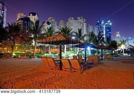 Beach Night Illumination Of The Luxury Hotel, Dubai, Uae