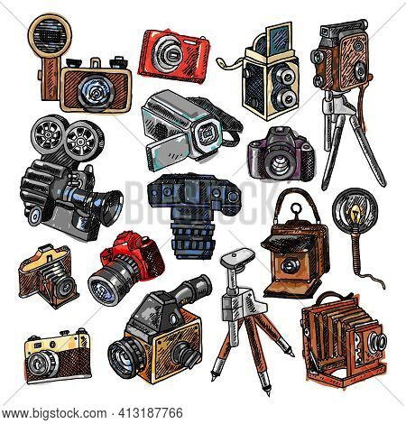 Old Mechanical Film And Automatic Modern Digital Reflex Cameras Icons Collection Abstract Color Dood