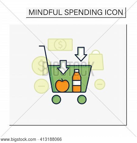 Buy Less Color Icon.basket With Necessary Products. Milk, Fruit. Thoughtful Spending Money. Purchase